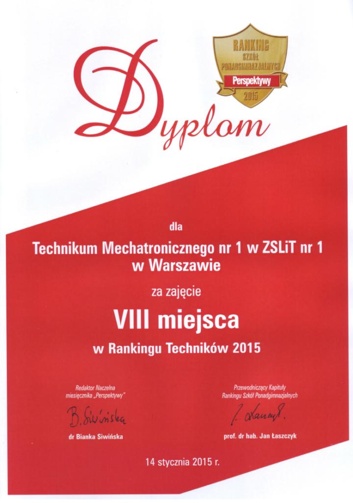 VIII miejsce w Ogólnopolskim Rankingu Techników
