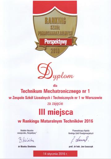 3 miejsce w Polsce w podrankingu maturalnym