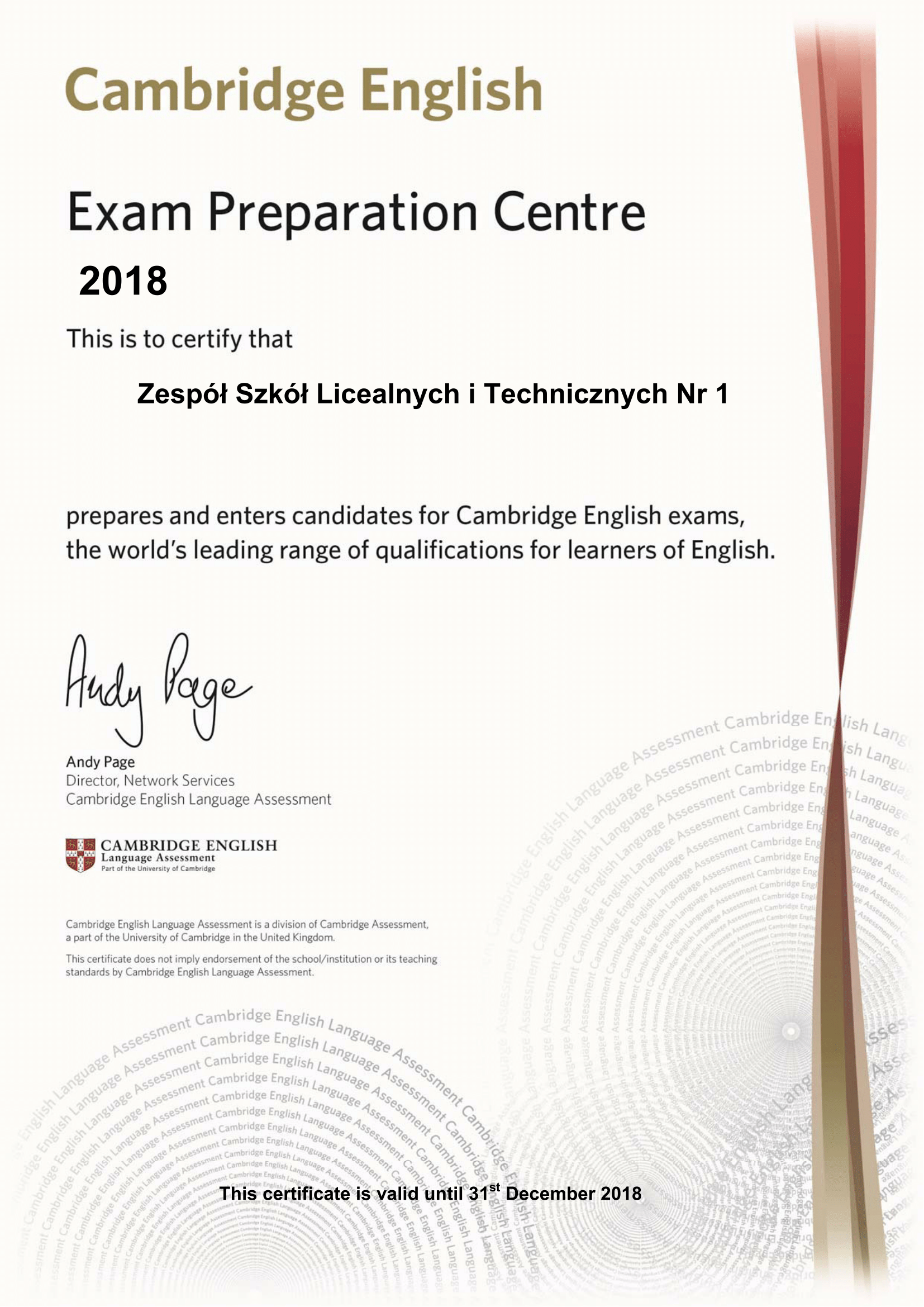 2018 Preparation Centre Certificate