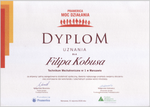 Gratulacje dla Filipa Kobusa