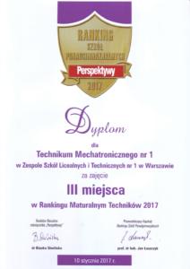 III miejsce w Rankingu Maturalnym Techników 2017
