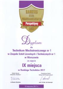 IX miejsce w Polskim Rankingu Techników 2017