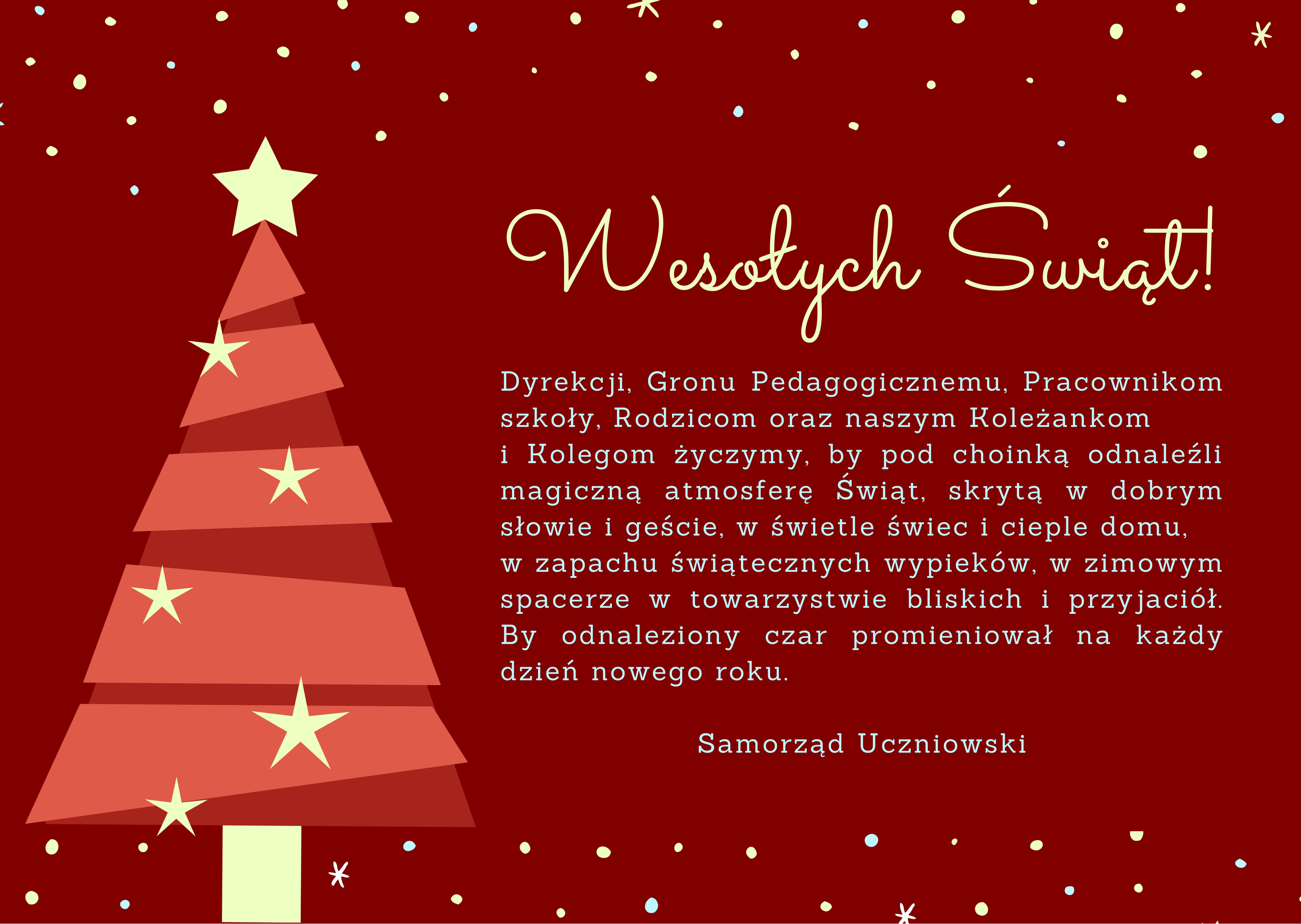 Życzenia od Samorządu Uczniowskiego 2020